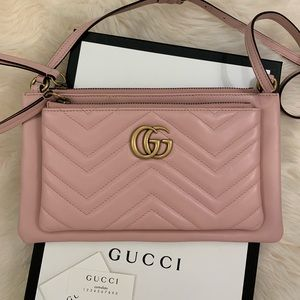 Gucci GG Marmont Chevron Crossbody Bag With Pouch